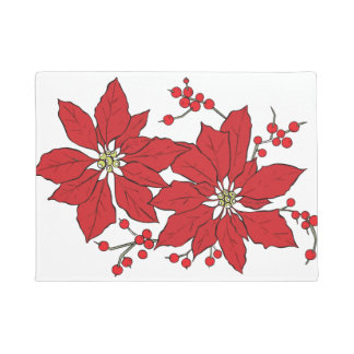 Red Poinsettia Christmas Pattern Doormat