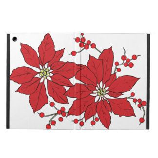 Red Poinsettia Christmas Pattern iPad Air Cover