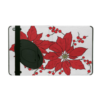 Red Poinsettia Christmas Pattern iPad Case