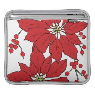Red Poinsettia Christmas Pattern iPad Sleeve