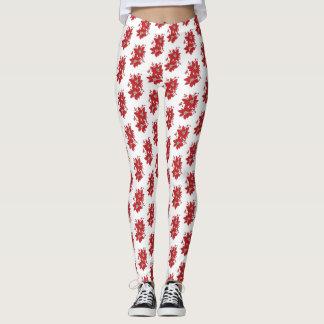 Red Poinsettia Christmas Pattern Leggings