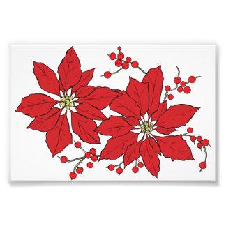 Red Poinsettia Christmas Pattern Photo Print