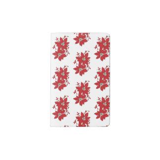 Red Poinsettia Christmas Pattern Pocket Moleskine Notebook