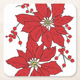 Red Poinsettia Christmas Pattern Square Paper Coaster
