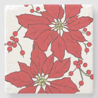 Red Poinsettia Christmas Pattern Stone Coaster