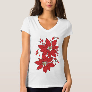 Red Poinsettia Christmas Pattern T-Shirt