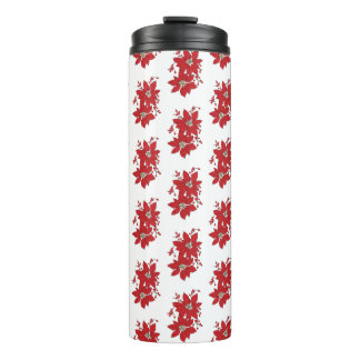 Red Poinsettia Christmas Pattern Thermal Tumbler