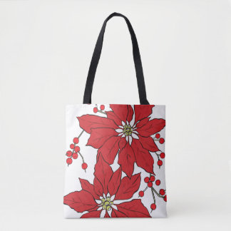 Red Poinsettia Christmas Pattern Tote Bag