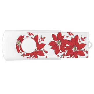 Red Poinsettia Christmas Pattern USB Flash Drive