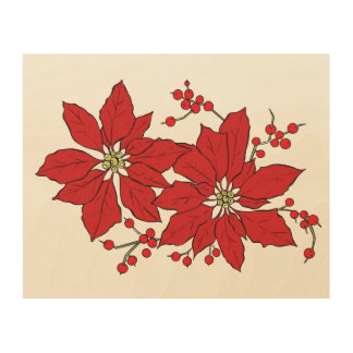 Red Poinsettia Christmas Pattern Wood Wall Art