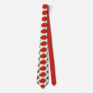 Red Poinsettia Christmas Tie