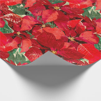 Red Poinsettia Christmas Wrapping Paper
