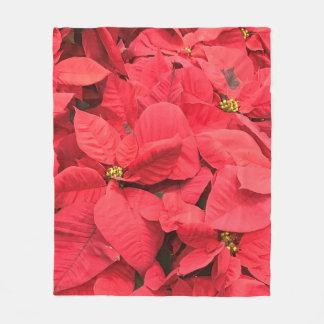 Red  Poinsettia Fleece Blanket
