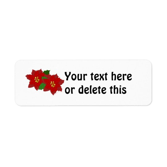 Red Poinsettia Flower Christmas Blossom Return Address Label