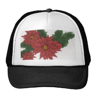 Red Poinsettia Flower Christmas Design Art Floral Mesh Hat
