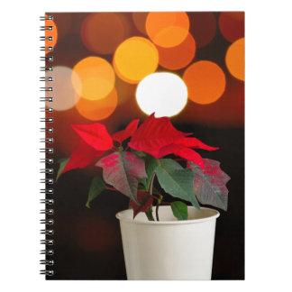 Red Poinsettia flower Notebooks