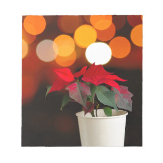 Red Poinsettia flower Notepad