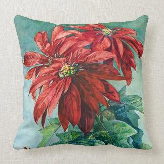 Red Poinsettia Flowers Vintage Throw Pillow