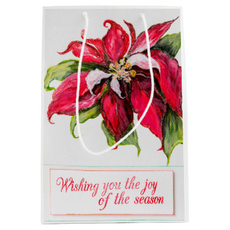 Red Poinsettia Gift Bag