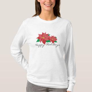 Red Poinsettia Happy Holidays T-Shirt