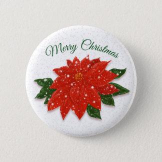 Red Poinsettia in Snow 6 Cm Round Badge