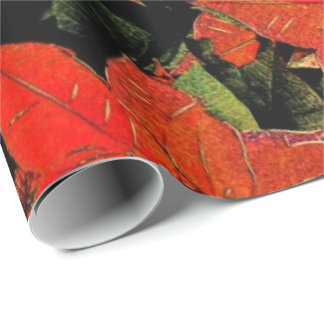 Red Poinsettia Watercolor & Gold - Wrapping Paper