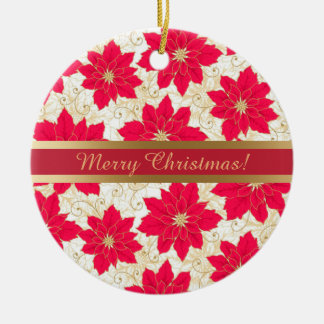 Red Poinsettia with gold swirls Season's Greetings Round Ceramic Decoration