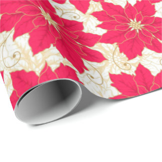 Red Poinsettia with gold swirls Season's Greetings Wrapping Paper