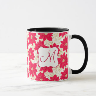 Red Poinsettia with gold swirls Xmas monogram Mug