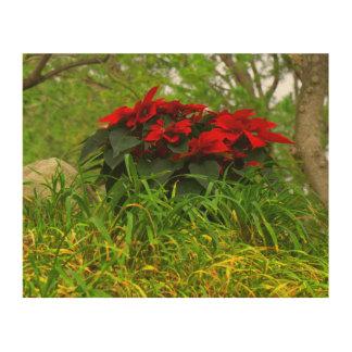 Red Poinsettia Wood Wall Art