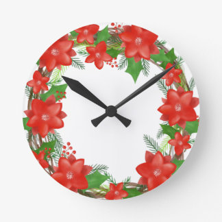Red Poinsettia Wreath Christmas Holiday Round Clock