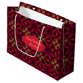 Red Poinsettias  Abstract 2 Large Gift Bag
