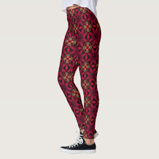 Red Poinsettias Abstract 2 Leggings