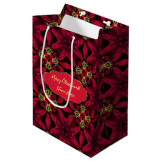 Red Poinsettias  Abstract 2 Medium Gift Bag