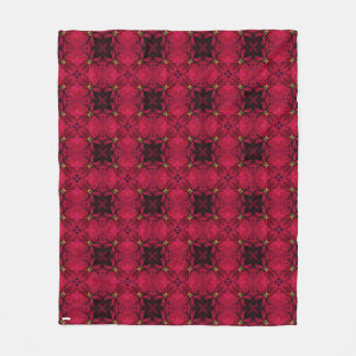 Red Poinsettias Abstract 3 Fleece Blanket