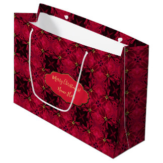 Red Poinsettias Abstract 3 Large Gift Bag