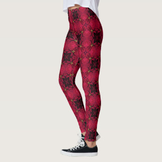 Red Poinsettias Abstract 3 Leggings