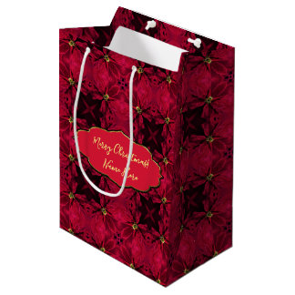 Red Poinsettias Abstract 3 Medium Gift Bag