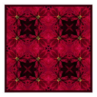 Red Poinsettias Abstract 3 Poster