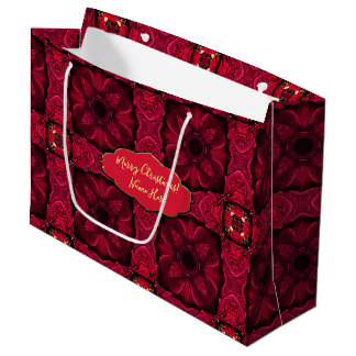 Red Poinsettias Abstract 9 Large Gift Bag