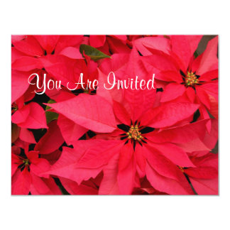"Red Poinsettias Christmas Holiday Invitations 4.25"" X 5.5"" Invitation Card"