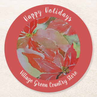 Red Poinsettias for the Holidays Round Paper Coaster