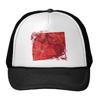 Red Poinsettias Holiday Gifts & Collectibles Mesh Hat