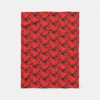 Red Poinsettias I Christmas Holiday Floral Photo Fleece Blanket