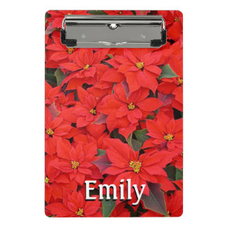 Red Poinsettias I Christmas Holiday Floral Photo Mini Clipboard