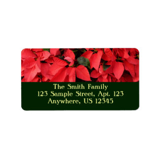 Red Poinsettias II Pretty Christmas Holiday Floral Label