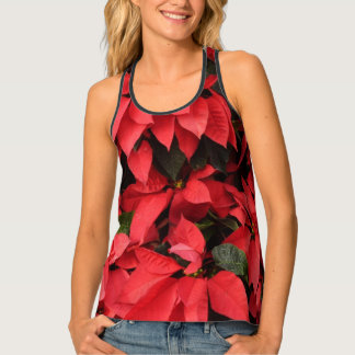 Red Poinsettias II Pretty Christmas Holiday Floral Singlet