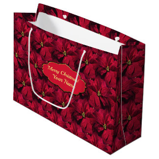 Red Poinsettias Large Gift Bag