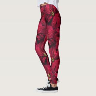 Red Poinsettias Leggings