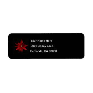 Red Poinsettias on Black Return Address Label